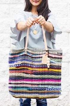 DIY: rug rag + leather bag