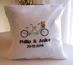 Personalized with names and weddin Tandem bicycle themed embroidery ring pillow. Personalized with names and weddin… – Ring Pillows, Baby Pillows, Throw Pillows, Pillow Embroidery, Embroidered Pillows, Tandem Bicycle, Reusable Tote Bags, Cushions, Names
