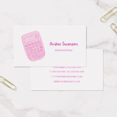 Cute Pink Calculator For Accountant and Bookkeeper Business Card - girly gift gifts ideas cyo diy special unique