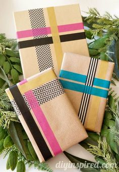 Pretty Washi Tape Gift Wrapping Idea