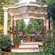 Add Architectural Details - Give your yard a sense of elegance and sophistication with a pergola that incorporates interesting architectural details. A slightly curved roof, shield on the front of the pergola, and capitals on top of the columns make the structure a focal point in the yard instead of just an accent.