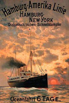 Hamburg – New York Vintage Travel Posters, Vintage Ads, New York Landmarks, Old Sailing Ships, World Cruise, Estilo Art Deco, Old Ads, Advertising Poster, Travel Posters