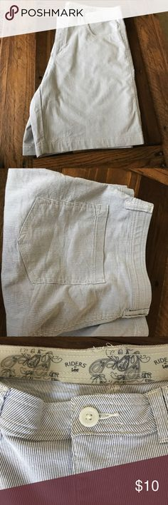 Lee Riders pinstripe shorts Like new Lee Riders blue & white pinstripe shorts. Comfort stretch waist. Front and back pockets. Cool and comfy for summer. 🌞 Riders by Lee Shorts