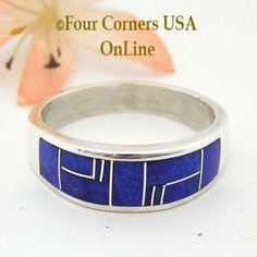 Size 13 1/2 Lapis Inlay Sterling Silver Mens Band Ring Native American Navajo Aaron Toadlena NAR-13017 Four Corners USA OnLine Jewelry Store Native American Indians, Native American Jewelry, Mens Band Rings, Rings For Men, Four Corners Usa, Silver Jewellery Indian, Silver Jewelry, Men's Jewelry Rings, Sterling Silver Mens Rings