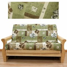 Wonderland Futon Cover Offers Striking And Elegant Abstract Pattern Features Flower In A Square Design Por Color Scheme Of Pine Green Coffee
