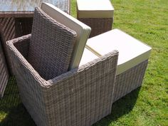 SEAT AND FOOT STOOL IN CHAMPAGNE Rattan Garden Furniture, Outdoor Furniture, Outdoor Decor, Outdoor Storage, Garden Ideas, Champagne, Ottoman, Stool, Home Decor