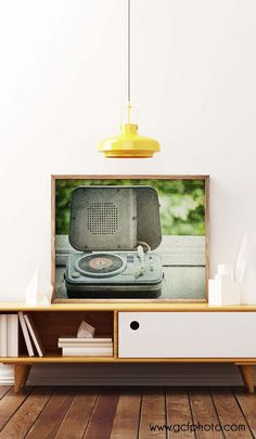 Retro decor ideas - Vintage record player art print. Click though now to my Etsy shop to see details.