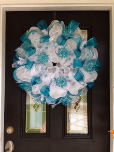 Blue and white Christmas deco mesh wreath  in Blue # 7 white Christmas wreath teal and white Christmas wreath. Wreaths by Ileana