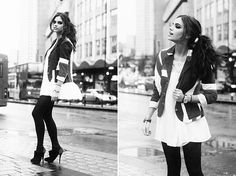 black and white, fashion, girl, outfit