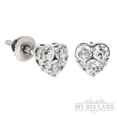 Cluster Diamond Heart Stud Earrings in 14k White Gold (0.54 ctw)