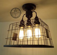 mudroom? Basket CEILING LIGHT with Edison bulbs by LampGoods on Etsy