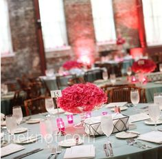 Gray and pink wedding decor