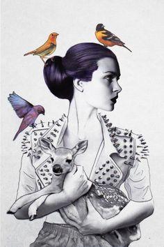 """Princess Spike and her Fawn"" Jenny Liz Rome 2013"