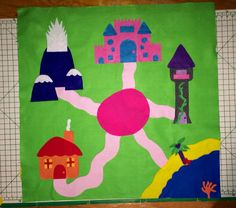 Handmade felt Princess playmat, appx 3ftx3ft. Doubles as a game board and wall hanging