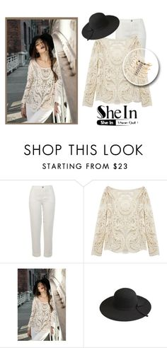 """""""Win Beige Lace Blouse   SheIn"""" by teez-biz-nez ❤ liked on Polyvore featuring River Island, Charlotte Russe, women's clothing, women, female, woman, misses and juniors"""