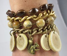 One of a kind! Wood and squirrel Beaded Chain Charm Bracelet by Unfeather by Robyn
