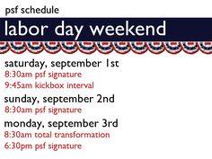 Labor Day Weekend Schedule 2012