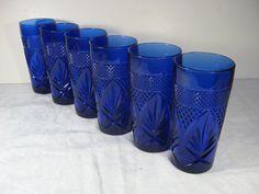 COBALT Blue TUMBLERS Glasses FRENCH Press Cut Glassware Set/6  by LavenderGardenCottag
