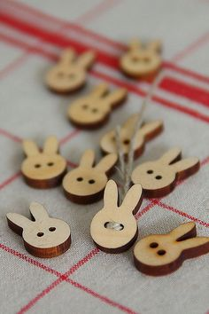 Wooden bunny buttons.  Sewing, crafts, scrapbooking