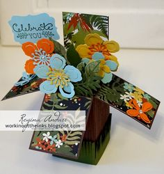 WORKIN' OUT THE INKS: BOTANICAL BOX CARD FOR THE N.C. DEMOS' FEBRUARY BLOG HOP