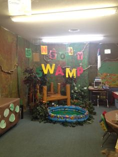 Swamp decorations that we did for our school academic fair. A good swamp themed idea, that will surely grasp their attention. Sensory