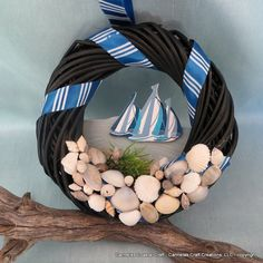 Little sail boat wreath with shells by CarmelasCoastalCraft, $12.75
