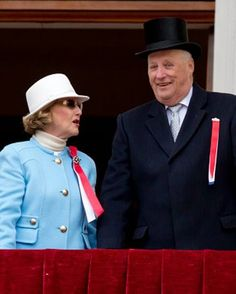 King Harald, and Queen Sonja of Norway, on the balcony of The Royal Palace in Oslo to celebrate Norway's National Day, on May 17, 2015 in Oslo, Norway