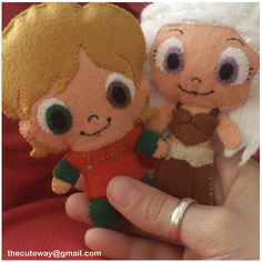 Game of Thrones plushies Tyrion and Daenerys. So cute.