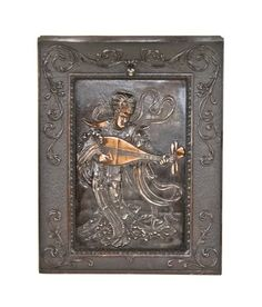 Urban Remains Chicago :: astounding 19th century american high victorian era copper-plated cast iron figural summer cover with costumed man playing mandolin.