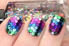 Polish All the Nails: True Rainbow Fish Nails made with large glitter! Seems like mermaid nails! Get Nails, Fancy Nails, Love Nails, How To Do Nails, Hair And Nails, Crazy Nails, 3d Nail Art, Gorgeous Nails, Pretty Nails