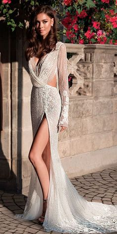 sexy wedding dresses ideas long sleeves v neck full embellishment high slit sheath elihav sasson