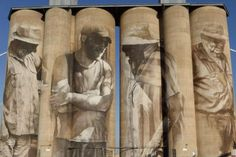 A mural is painted on the silo in Brim, Victoria