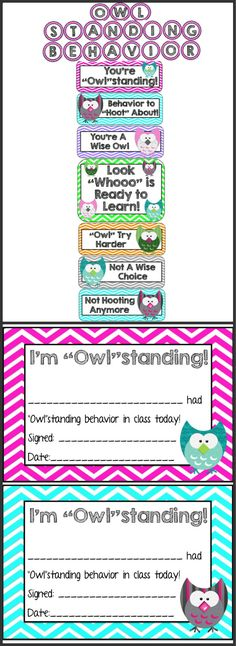 "Managing your classroom behavior has never been such a ""Hoot""! This behavior system promotes positive behavior in the classroom.  This pack includes:  * Owl Themed Clip Chart Behavior System  * ""Owl""standing Behavior Letters * Awards for reaching the top of the chart  Simply download, print, laminate.   Follow me on TPT for new products and FREEBIES!!"