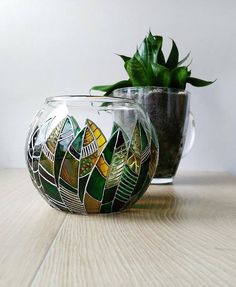Stylish green & brown piece for your plants. Unique Glass Sphere planters for home and office. Can be used for succulents and cactuses. This glass planter pot Colorful Succulents, Succulents In Containers, Potted Succulents, Plant Painting, Bottle Painting, Cactus Painting, Painting Art, Glass Painting Designs, Paint Designs