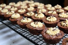 Brownie Bites with Peanut Butter Frosting ~ Becky's Baking Adventures