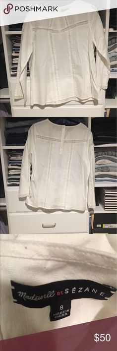 Made well et Sezanne Top White peasant style too with lace detailing and buttons in the back. Only worn once and in like new condition! Super cute limited edition collaboration with French label Sezanne. Open to reasonable offers through feature! Madewell Tops Blouses