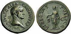 Galba AE Sestertius. Obv: IMP SER GALBA AVG TR P, oak-wreathed, draped bust r. Rev.: LIBERTAS PVBLICA S C, Libertas holding pileus and sceptre.