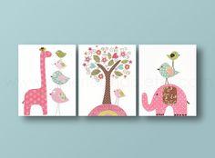 Lot de 3 illustrations pour chambre d'enfant et bebe, art rose