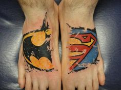 batman+superman foot tattoo