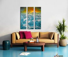 Triptych, dolphins,painting,seascape,ocean,scene,waves,blue,beautiful,images,contemporary,modern,wall,art,awesome,cool,artistic,artwork,for,sale,home,office,decor,fine,oil,nature,water,fish,sunset,sunrise,playful,jumping,rough,big,high,crashing,breaking,splashing,spray,items,ideas,panels,stretched,split,canvas