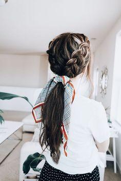Dutch Braid Ponytail - - -Double Dutch Braid Ponytail - - - Long Hair Hairstyles For Girl Bandana Hairstyles, Box Braids Hairstyles, Trendy Hairstyles, Popular Hairstyles, Short Haircuts, Hairstyle Ideas, Hairstyles For Women, Prom Hairstyles, Summer Hairstyles