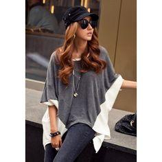 Fashion Style Color Block Splice Irregular Hem Loose Fit Women's BlouseBlouses | RoseGal.com
