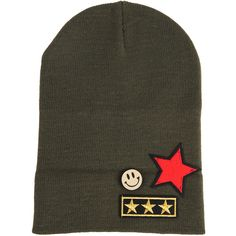 Armitage Avenue Stars/Face Logo Patch Beanie ($19) ❤ liked on Polyvore featuring accessories, hats, olive, logo hats, logo beanie, beanie hat, logo beanie hats and ribbed beanie