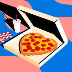 Australian-born, Tokyo-based designer Karan Singh experiments with a variety of media including illustration, visual arts, graphic design and moving image to test the limits of op-art minimalism. Pizza Kunst, Food Illustrations, Illustration Art, Outline Artists, Pop Art, Pizza Art, Xl Pizza, Art Tumblr, Posca