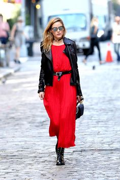 Olivia Palermo in a red maxi dress and leather biker jacket - October 2016