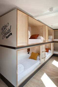 Discover our Hostel in Madrid historical district. TOCHostel Madrid has private rooms and shared rooms, kitchen, WIFI, lockers and excellent services Architecture Restaurant, Architecture Details, Bunk Rooms, Bunk Beds, Bedrooms, Hotel Room Design, Minimalist Home Decor, Hotel Interiors, Dormitory