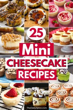 Looking for the perfect party treats? Then try your hand at one of these 25 cute and easy mini cheesecake recipes. They're the perfect bite sized dessert! desserts for party 25 Mini Cheesecake Recipes: Bite Sized Desserts - The Daily Spice Mini Desserts, Bite Size Desserts, Finger Desserts, Mini Dessert Recipes, Individual Desserts, Light Desserts, Easter Desserts, Thanksgiving Desserts, Delicious Desserts