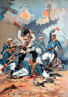 Melee combat between Russian and Japanese troops, Russo-Japanese War