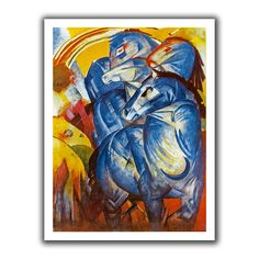 'A Tower of Blue Horses' by Franz Marc Canvas Poster