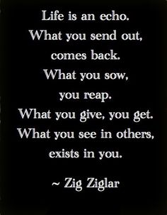 """""""Life is an echo. What you send out, comes back. What you sow, you reap. What you give, you get. What you see in others, exists in you."""" ~Zig Ziglar 